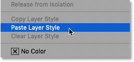 How to paste a layer style onto another layer in Photoshop