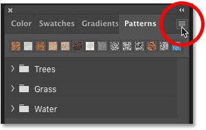 Clicking the Patterns panel menu icon in Photoshop CC 2020