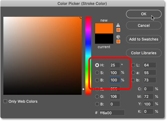 Choosing a new color for the Stroke in Photoshop's Color Picker