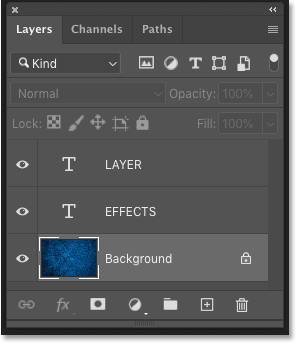 Photoshop's Layers panel showing the three layers in the document