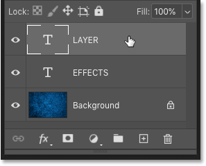 Selecting the layer before adding layer effects in Photoshop