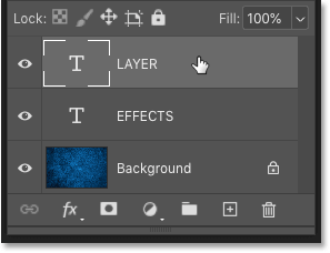 Select the layer where you want to apply the layer effects in Photoshop