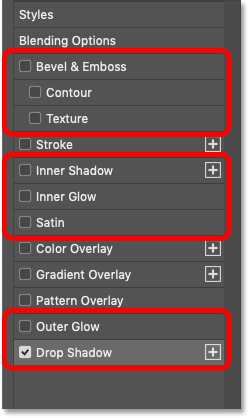 The Shadows and Glows layer effects in Photoshop