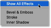 Choosing 'Reset to Default List' in Photoshop's Layer Style dialog box