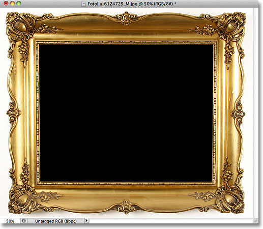 The area inside the photo frame has been filled with black.