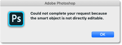 Photoshop's warning that smart objects are not directly editable