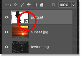 Photoshop's Layers panel showing the image placed as a smart object