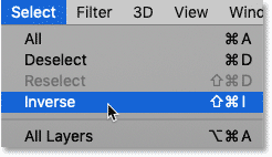Choosing the Inverse command from the Select menu in Photoshop