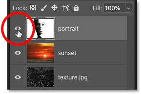 Clicking the layer visibility icons in Photoshop's Layers panel to show or hide the images