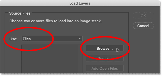 Setting the Use option to either Files or Folder and clicking Browse in Photoshop's Load Layers dialog box