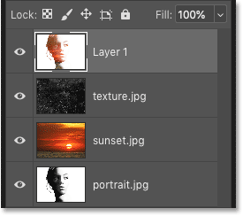 Merging the existing layers onto a new layer in Photoshop's Layers panel