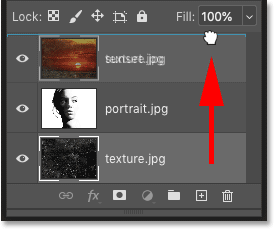 Dragging the texture layer to the top of the layer stack in Photoshop's Layers panel