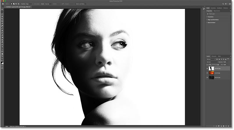The original portrait image in the Photoshop document. Credit: Adobe Stock