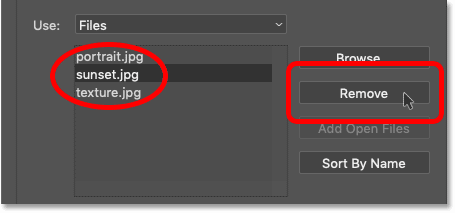 Selecting an image to remove in Photoshop's Load Layers dialog box