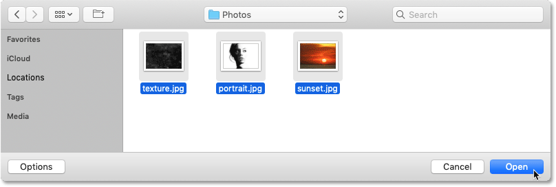 Selecting the images to load into Photoshop