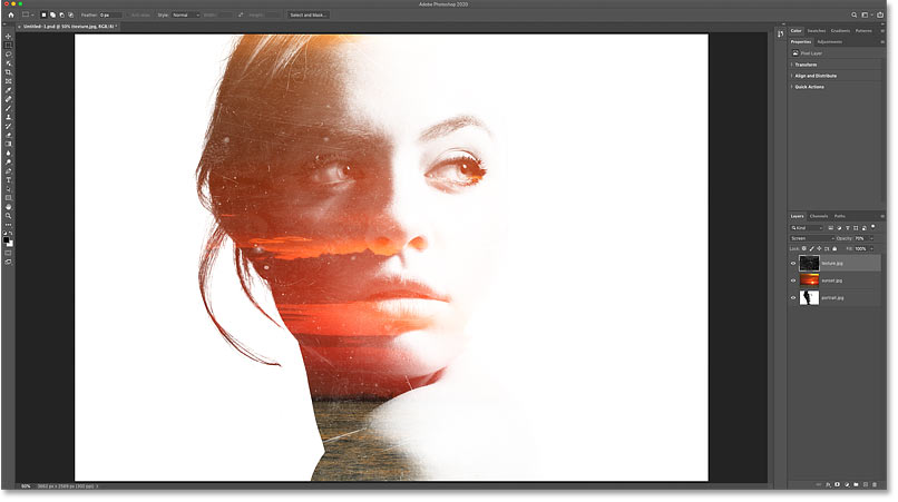The result after changing the blend mode of the sunset layer to Screen in Photoshop