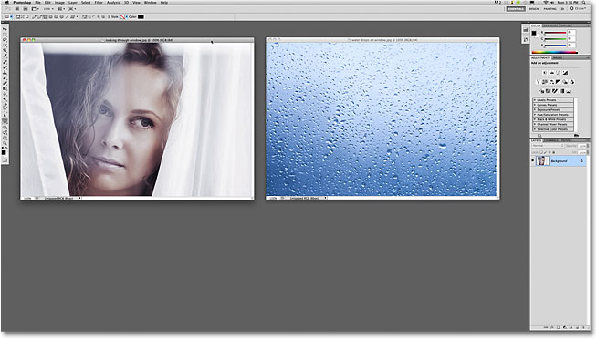 Two document windows open in Photoshop.