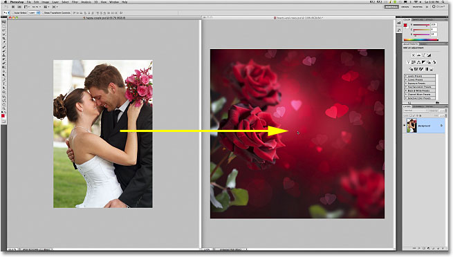Dragging a photo between documents in Photoshop.