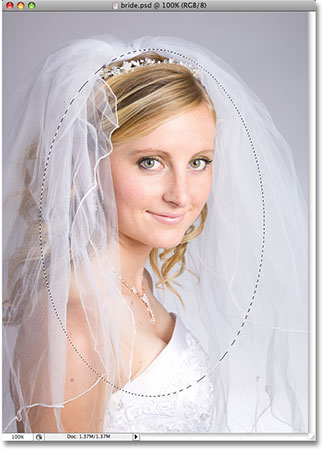 The photo of the bride after drawing a selection with the Elliptical Marquee Tool.