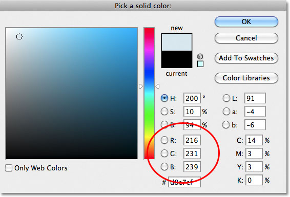 Choosing a light blue from the Color Picker in Photoshop.
