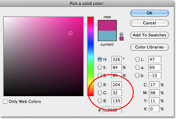 Choosing a cherry color from the Color Picker.