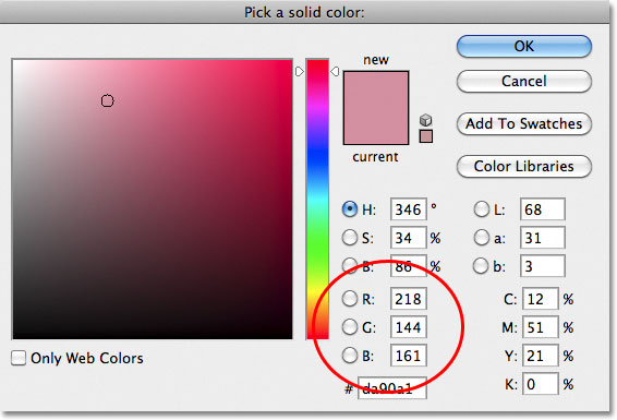 Choosing a soft pink from the Color Picker.