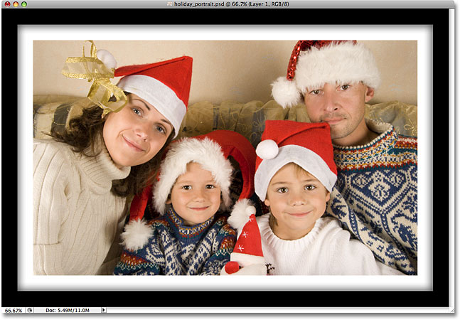 A photo frame created using layer styles in Photoshop. Image © 2008 Photoshop Essentials.com.