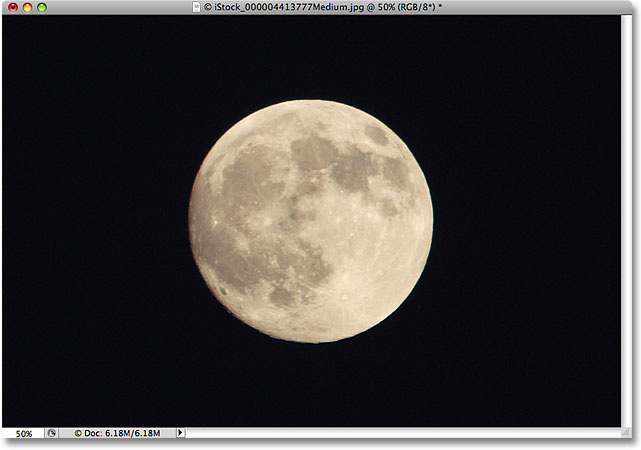 A photo of the moon. Image licensed by iStockphoto by Photoshop Essentials.com