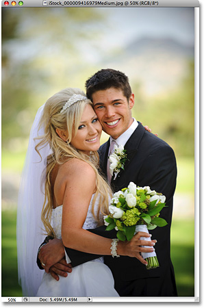 Wedding bride and groom photo. Image licensed from iStockphoto by Photoshop Essentials.com