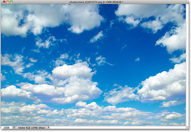 A photo of clouds. Image licensed from Shutterstock by Photoshop Essentials.com