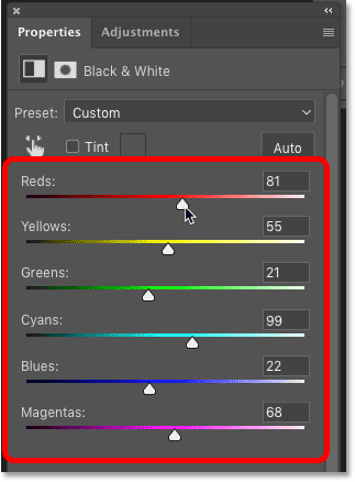The selection outline has been converted to a layer mask for the Black & White adjustment layer