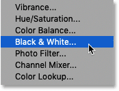 Adding a Black & White adjustment layer in Photoshop