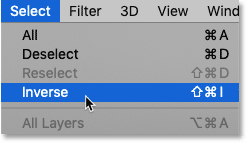 How to invert a selection using the Inverse command in Photoshop