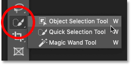 The Object Selection Tool shares the same tool slot with the Quick Selection Tool and the Magic Wand Tool