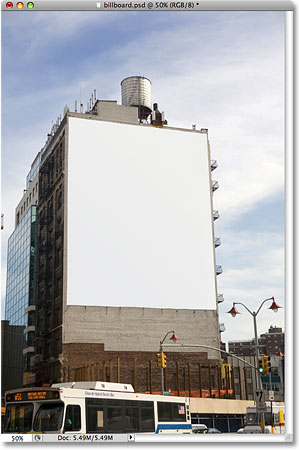 A blank billboard on a building. Image licensed from iStockphoto by Photoshop Essentials.com