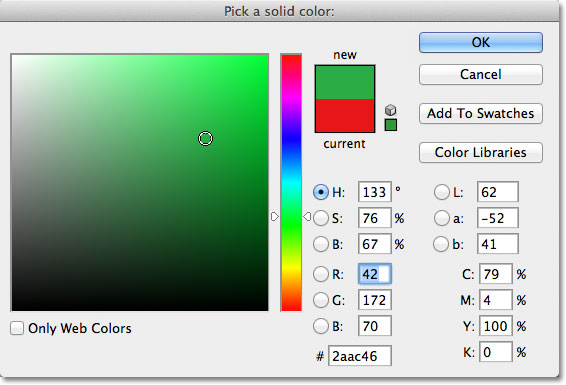 Choosing a color from the Color Picker for the Solid Color fill layer.