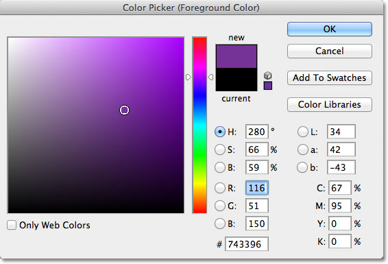 Choosing purple from the Color Picker in Photoshop.