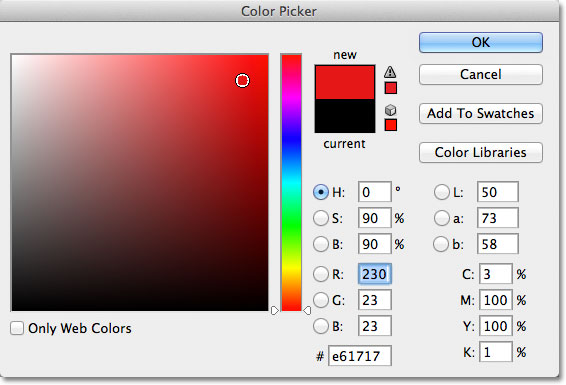 Choosing a shape color from the Color Picker.