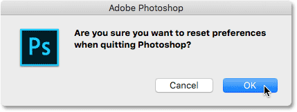 The reset Photoshop Preferences confirmation box.