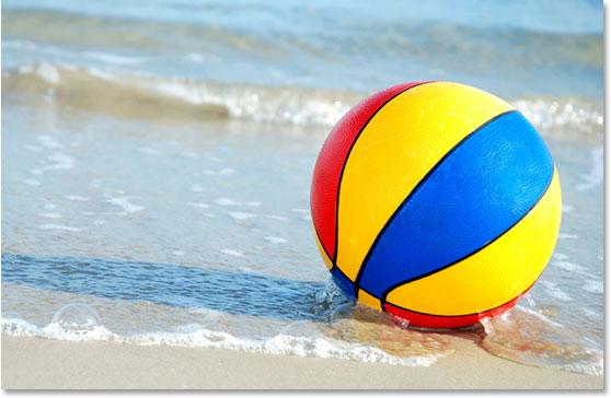 A beachball on the beach
