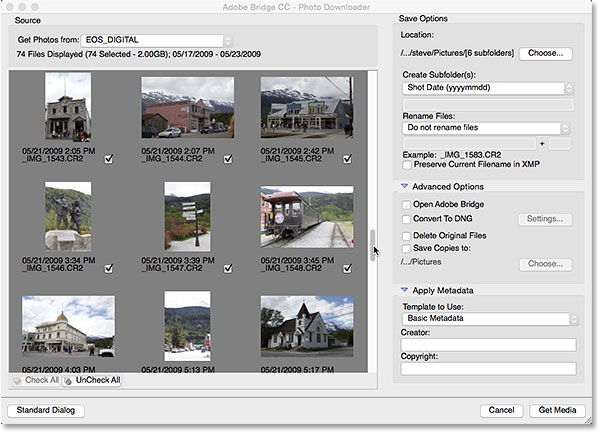 The Adobe Photo Downloader advanced dialog.