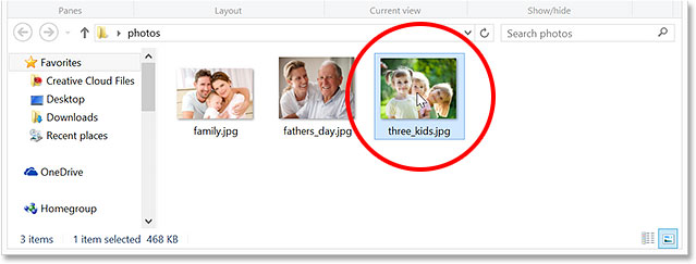 Opening one of the jpeg files. Image © 2014 Photoshop Essentials.com