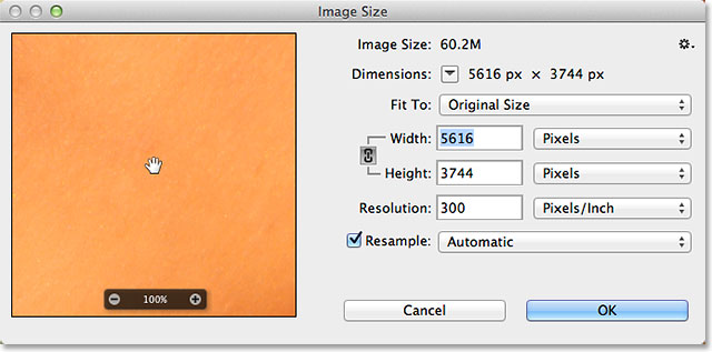 The redesigned Image Size dialog box in Photoshop CC. Image © 2013 Photoshop Essentials