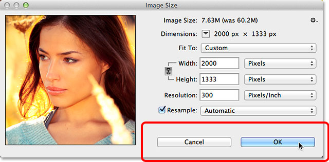 The OK and Cancel buttons in the Image Size dialog box in Photoshop CC. Image © 2013 Photoshop Essentials