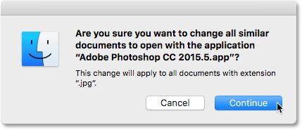 Clicking the Continue button. Image © 2016 Photoshop Essentials.com