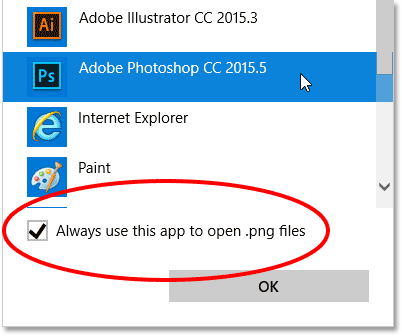 Setting Photoshop as the new default app for opening PNG files.