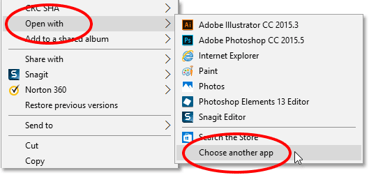 Going to Open With, then Choose another app, for the PNG file.