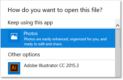 Photos is the current default app for opening PNG files in Windows 10.