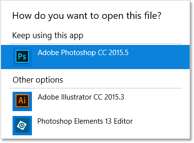 Photoshop should automatically be the default app for opening PSD files.