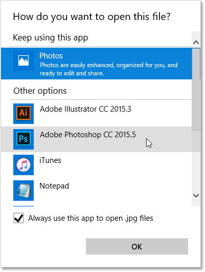 Choosing Photoshop as the new default app for opening JPEG files. Image © 2016. Photoshop Essentials.com